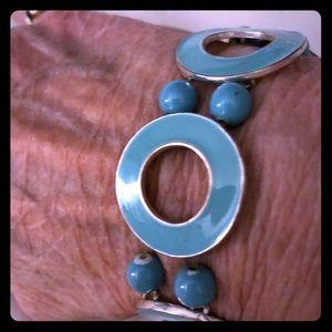 Vintage Metal Turquoise Stretch Bracelet